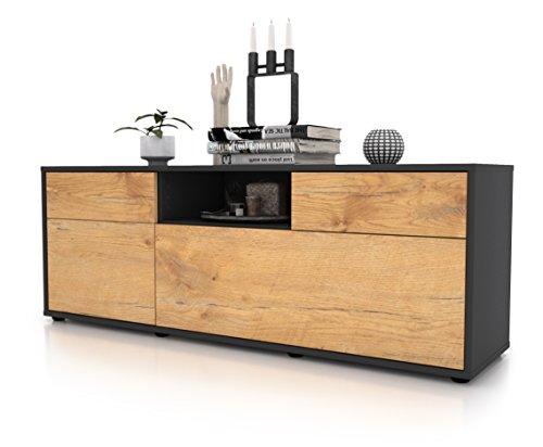 Stil.Zeit Möbel TV Schrank Lowboard Anita, Korpus in Anthrazit Matt/Front im Holz-Design Eiche (135x49x35cm), mit Push-to-Open Technik und Hochwertigen Leichtlaufschienen, Made in Germany