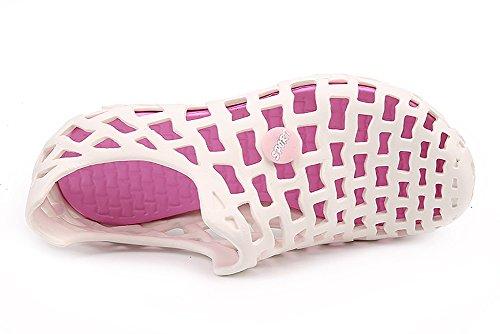 Superleichte Wassersportschuhe Liebspaar Unisex Crocs Strandschuhe Schnelltrockende Wasserschuhe Badeschuhe für Damen und Herren Weiß Und Rosa