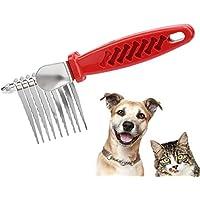 Peine de Aseo para Mascotas, Mango de plástico + Peine para Mascotas de Acero Inoxidable Cepillo de Mano para Peine para Mascotas Cepillo sin Nudos con Dientes de Acero para Cachorro de Perro Gato