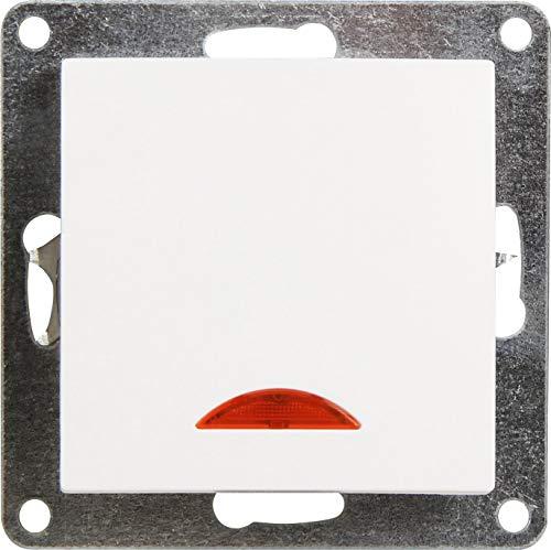 UP Kristallglas Schalterserie Schalterprogramm - Serie GLAS weiß (Schalter mit Kontroll-Leuchte) -