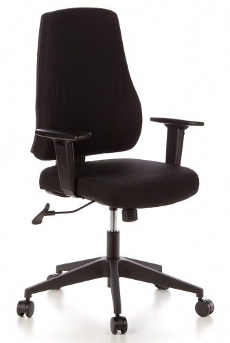 hjh OFFICE 608100 Profi Bürostuhl PRO-TEC 100 Schwarz Stoff Drehstuhl mit verstellbarer Rückenlehne