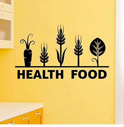 BVTYGH Wandtattoos Gesundheit Lebensmittel Buchstaben Schwarz Wandaufkleber Küche Wohnkultur Gemüse Muster Wandtattoos Vinyl Wandmalerei DIY Poster 42X25 cm Wall Stickers Wohnzimmer