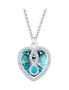 Elli Damen-Kette mit Anhänger Herz, Infinity Unendlichkeit 925 Silber blau Rundschliff Kristall