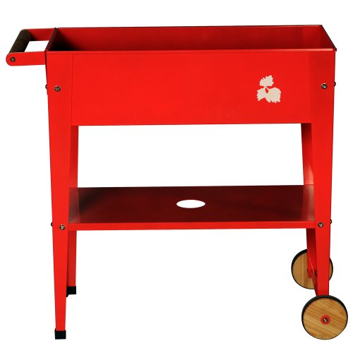 "Pflanztrolley / Hochbeet 75x35x80 cm mit Rollen in Farbe ""Rot"""
