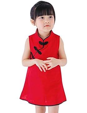Niña princesa vestido,Sonnena estilo Chino Cheongsam vestido de niños sin manga linda vestido de la muchacha encantadora...