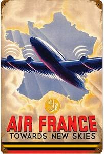 air-france-cartel-de-metal-oxidado-pst1812-pt