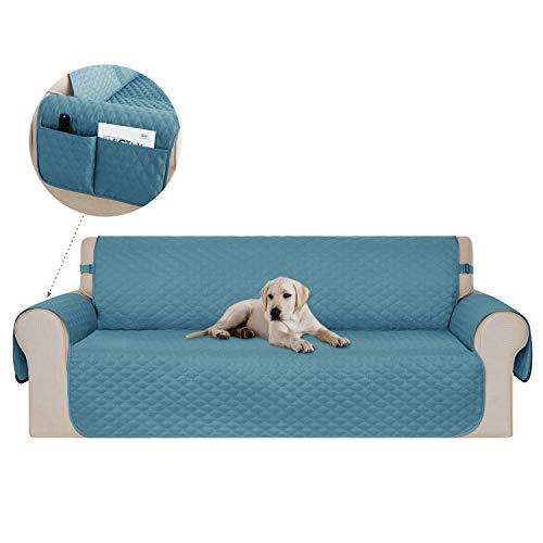 Deconovo copridivano 3 posti antiscivolo trapuntato con tasche fodera divano protegge il mobile per cani/gatti letto turchese