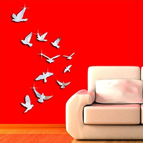 Rokoy combinazione di uccelli 11 pezzi, adesivo specchio 3d, adesivo animale carino, decorazione murale fai-da-te, casa bambini camera da letto soggiorno adesivo arte moderna, argento