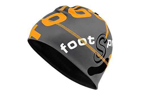 THERMO Running Mütze Beanie von footSprint Farbe: Grey Bright Orange, Größe: M