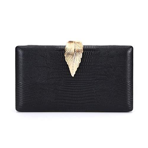 HOQTUM Abend Handtasche Damenmode Hipster Leaf Lock Party Braut Hochzeit Abendessen Paket Dame Umschlag lässig Kette Handtasche (schwarz 20 * 4 * 11,5 cm) -