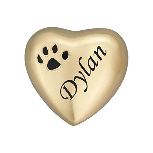 Impresión de huellas en forma de corazón dorado personalizable, recuerdo de urna para perro, gato, cenizas, cremación
