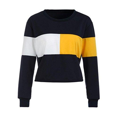 Sannysis Frauen Sweatshirt Jumper Crop Top Pullover Tops Bluse Patchwork Print Damen Oberteile Langarm T-shirt Tops (M, Marine)