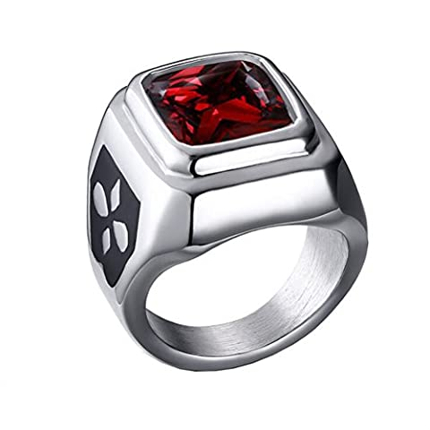 HIJONES Unisex Schmuck Edelstahl Quadratische Lünette Zirkonia Ring, Rote Stein Größe 62