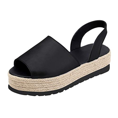 VICGREY ❤ Sandali con Zeppa Donna Estivi Comode Cuoio Platform Sandalo Eleganti Scarpe con Tacco Estivi Scarpe Flat Ciabatte Spessa-Bottom Sandali Roman Scarpe
