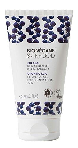 BIO:VÉGANE SKINFOOD Bio Acai - Reinigungsgel für Mischhaut, vegan, NATRUE-zertifiziert, verfeinert das Hautbild, Naturkosmetik für ölige Haut, 1er Pack (1 x 150 ml)