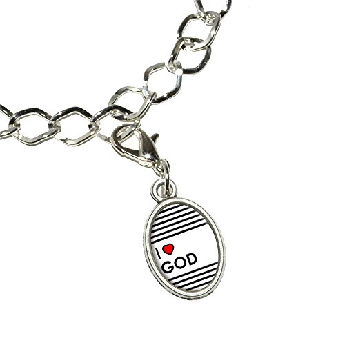 Charms Für Armbänder Religiöse (I love Herz Gott–Religiöse Armband versilbert mit Antik Oval Charme)