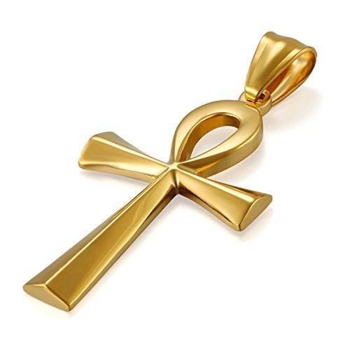 JewelryWe Schmuck Edelstahl Ägypten Ägyptisches Zeichen Anch o. Ankh Kreuz Anhänger mit 50cm Kette, Halskette für Herren Damen, Gold
