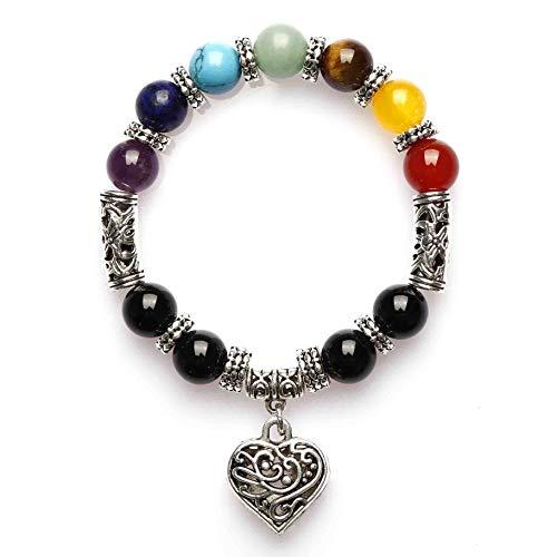 ISHOW Yoga Meditation Natürliche Steinwurzel Sieben Chakra Perle Antikes Silber Hohles Herz Liebe Elastisches Seil Stretch Armband