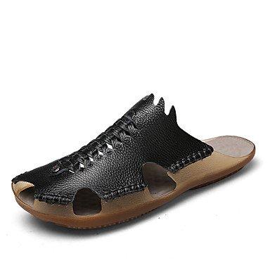Slippers & amp da uomo;Pelle Nappa Estate Comfort Outdoor Heel Flat White Nero Marrone Walking sandali US8 / EU40 / UK7 / CN41