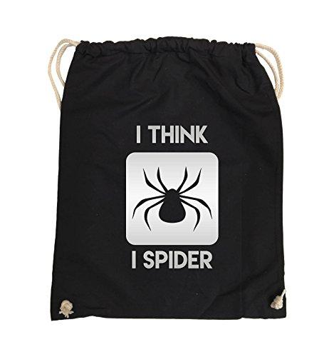 Comedy Bags - I THINK I SPIDER - Turnbeutel - 37x46cm - Farbe: Schwarz / Pink Schwarz / Silber