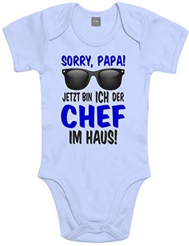 Lustiger Baby Body Strampler witzig Bedruckt mit Sorry Papa! Jetzt Bin ICH der Chef im Haus! - für Jungen und Mädchen als Geschenk zur Geburt/Erstausstattung