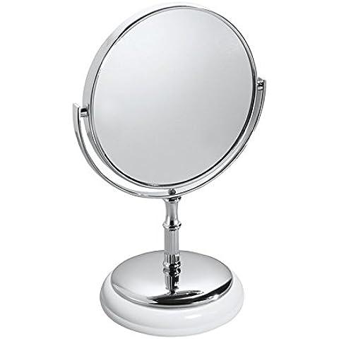 mDesign - Espejo autónomo para tocador; para mesadas del cuarto de baño - Blanco/cromado