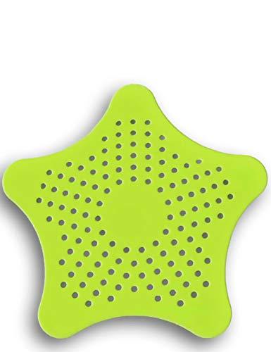 HomeTools.eu - XXL großes Silikon Abfluss-Sieb mit Saugnäpfen   für Küche Spüle Bad Wanne Dusche Gegen Haare, Krümel   15 x 15cm, grün