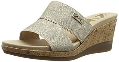 Anne Klein Sport Women's Pleasant Fabric Wedge Sandal, Light Natural, 5.5 M US