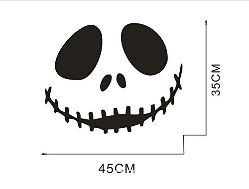 cht Halloween Mauer Aufkleber Lächeln Kunst Wandgemälde Tapete Abziehbilder PVC Abnehmbar Wasserdicht DIY Zuhause Küche Fenster Dekoration, 5 Set, 45 * 35cm Black ()