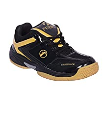 Feroc Non Marking Unisex Badminton Shoes (Free Delivery) (11.5, Black & Golden)