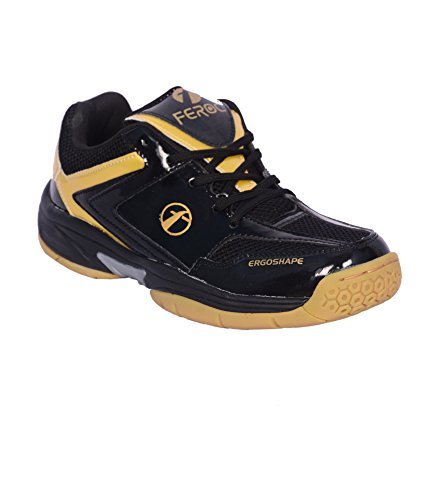 Feroc Black & Golden Unisex Badminton Shoe (FREE Delivery)