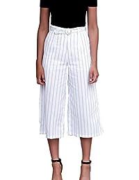 Mujer Pantalones Pantalon Anchos Pantalones De Tiempo Libre Clásico  Especial Elegantes Verano Niña Rayas 7 8 Pantalones Cintura Alta… 997ab4d405c5