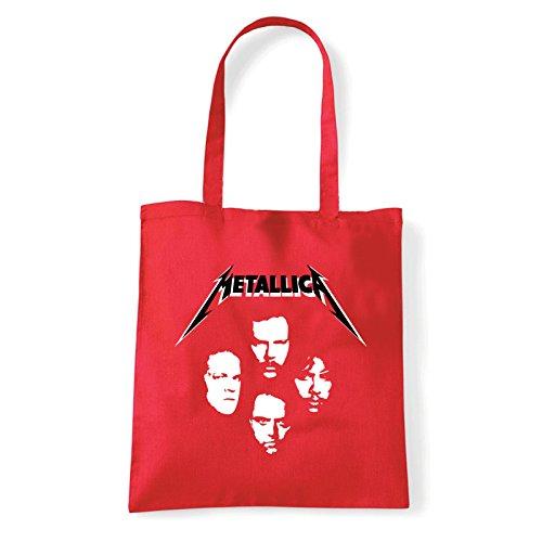 Art T-shirt  metallica-faces-bag, Damen Schultertasche Rot