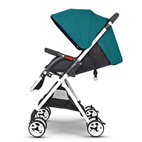 RAQ Cochecitos de bebé Tubo de Hierro Plegado Ultraligero Puede Sentarse Puede mentir Alto Paisaje Paraguas Carrito bebé (Color : B)
