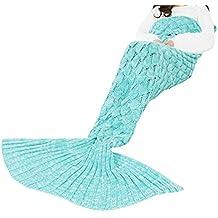 Triseaman Mujeres y Niñas Manta de cola de sirena Escala de pescado Sofá Salón de dormir Verde Más