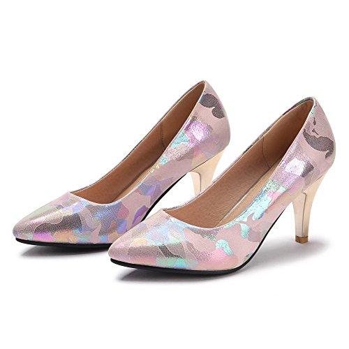 AllhqFashion Damen Blend-Materialien Hoher Absatz Spitz Zehe Gemischte Farbe Pumps Schuhe Pink