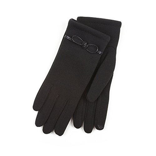 isotoner-ladies-black-smartouch-glove-with-bow-detail