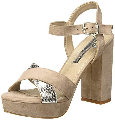 XTI 32055, Scarpe col Tacco con Cinturino Dietro la Caviglia Donna, Marrone Taupe, 38 EU