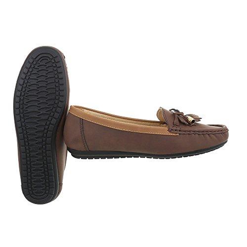 Ital-Design Chaussures Femme Mocassins Plat Mocassins marron 3002