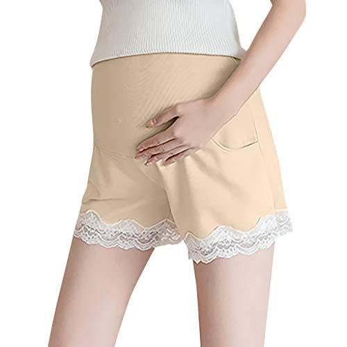 Leinen-look Tunnelzug Shorts (BIBOKAOKE Umstandsmode Shorts für Schwangere Einfarbig Spitzenkante Freizeit Sporthose Kurze Hosen Schwangerschafts Hosen Leggings Bermuda Hot Pants)