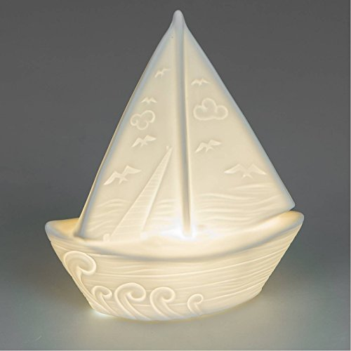 Schönes weißes Boot aus Porzellan mit LED Beleuchtung martim Deko Segelboot Schöne Boote
