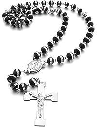 Rosenkranz Kunststoff Kreuz Kruzifix Halskette Mode Schwarz//Weiß