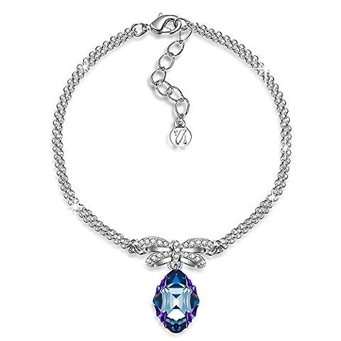 J.NINA Princesse de Monaco Magic Bleu cristaux Swarovski Bracelet Femme Coeur Cadeau Anniversaire Noël Saint-Valentin Fête des Cadeau Fete des Meres Cadeau Maman Pour Mère Fille épouse Petite Amie