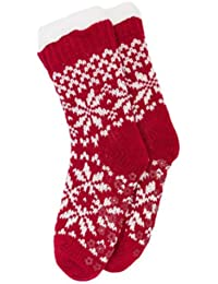 Ladies Warm Thick Fairisle Knit Slipper Sock - Fleece Lined With Gripper Soles