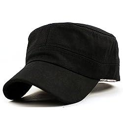 squarex Classic Plain Vintage Army Military Cadet Style Cotton Cap Hat Adjustable