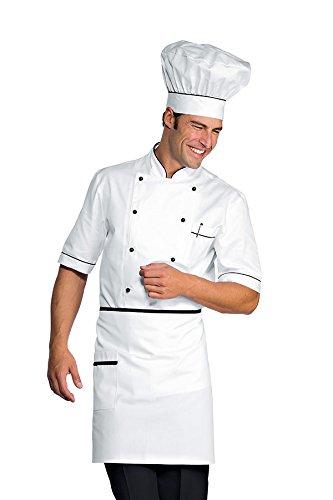 Isacco - Veste Chef Cuisinier Alicante Blanc Noir 100% Coton Blanc