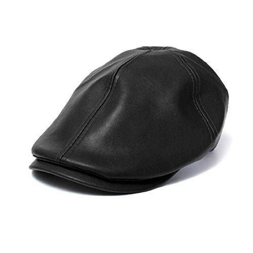 Tongshi Para hombre de cuero de las mujeres de la vendimia de la boina del vendedor de periódicos del sombrero gorra de visera de protección solar (Black)