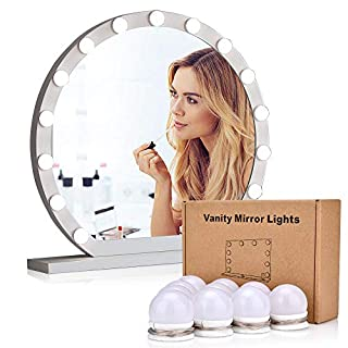 AUSHEN LED Vanity Mirror Lights 10pcs Three Colors Dimmable Bulbs Hollywood Mirror Lights 3M Stick Makeup Mirror with Lights for Dressing Room Bathroom
