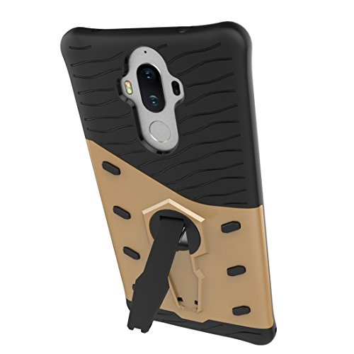 Huawei Mate 9 Hülle Schock-resistent 360 Grad Spin Sniper Hybrid Case TPU + PC Kombination Fall mit Halter für Huawei Mate 9 Fall by diebelleu ( Color : Black ) Gold