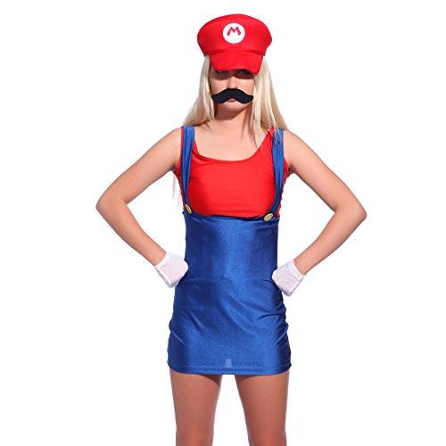 Super Mario Gr.M Klempner Kleider mit Muetze Set Karneval Fasching Kostuem Damenkostuem Faschingkostuem